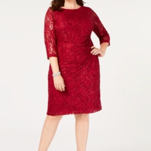 Jessica Howard Dresses & Skirts - Jessica Howard Plus Red Ruched Lace Dress